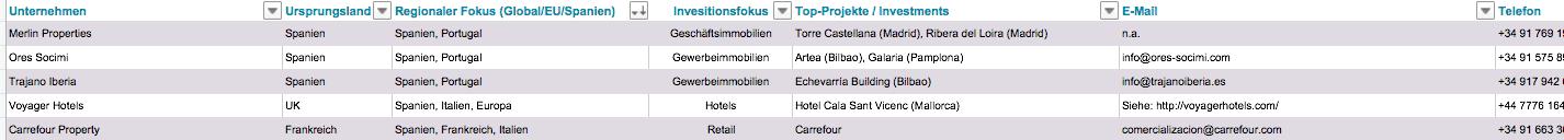Größte Immobilieninvestoren Spanien Hotels Gewerbe