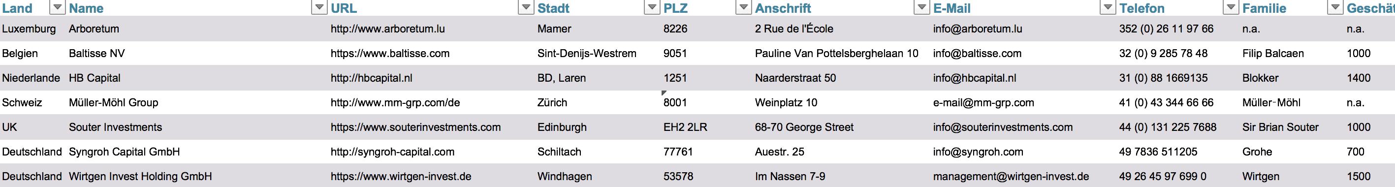 Vorschau unserer Liste der größten Europäischen Single Family Offices