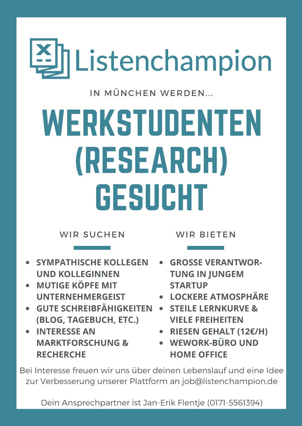 Karriere Werkstudenten München gesucht